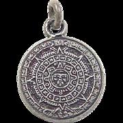 Vintage Sterling Silver Mayan Calendar Charm