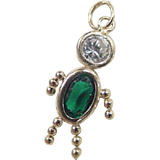 Vintage 14k Gold May Boy Birthstone Charm ~ Faux Emerald and Faux Diamond