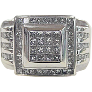 Vintage 14k White Gold Men's / Gents Diamond Ring