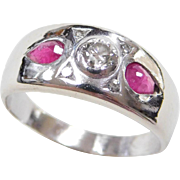 Art Deco 14k White Gold Gents .94 ctw Diamond and Ruby Ring