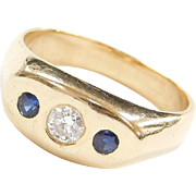 Vintage 14k Gold Men's .50 ctw Natural Sapphire and Diamond Ring