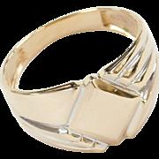 Vintage 14k Gold Men's Two-Tone Signet Ring