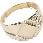 Vintage 14k Gold Men's Two-Tone Signet Ring