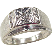 Vintage 14k White Gold Gents .22 ctw Diamond Ring