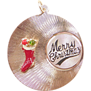 Vintage 14k Gold Big Merry Christmas Charm with Red Enamel Stocking