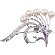 Mikimoto Sterling Silver Cultured Pearl Pin / Brooch