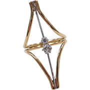 Vintage 14k Gold Two-Tone Modernist .27 ctw Diamond Ring