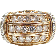 Vintage 14k Gold Two-Tone Wide 1.40 ctw Moissanite Ring