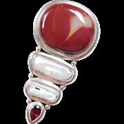 Sterling Silver Mookaite Jasper, Pearl and Garnet Pendant