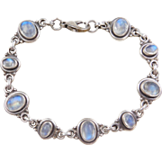 Sterling Silver Blue Flash Moonstone Bracelet ~ 7 1/4""
