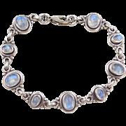 """Sterling Silver Blue Flash Moonstone Bracelet ~ 7 1/4"""""""