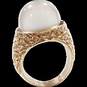 Vintage 14k Gold Tall Moonstone Ring