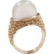 Vintage 14k Gold Tall Moonstone Ring
