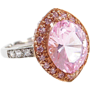 Vintage 14k Gold Two-Tone Morganite, Faux Diamond, and Faux Pink Diamond Ring