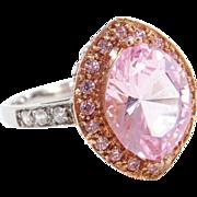 Vintage 14k Gold Two-Tone Morganite, Faux Diamond, and Faux Pink Diamond Ring