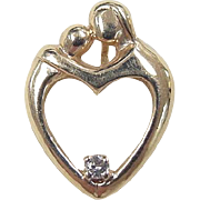 Vintage 14k Gold Mother and Child Diamond Heart Charm / Pendant