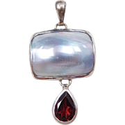 Sterling Silver Mother of Pearl and Garnet Pendant