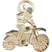 Vintage 14k Gold Motorcycle Racer Charm