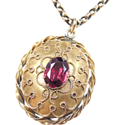Victorian 14k Gold Pink Tourmaline Mourning Necklace