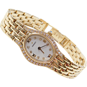 Movado 14k Gold .36 ctw Diamond Ladies Wrist Watch WITH Papers ~ 6 1/2""