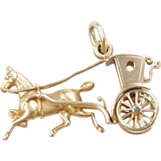 Vintage 14k Gold Moving Horse and Carriage Charm