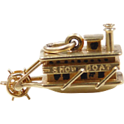 Vintage 14k Gold Moving Show Boat Charm
