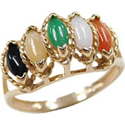 Vintage 14k Gold Multi-Color Jade Ring