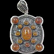 Vintage Sterling Silver Big Amber Pendant