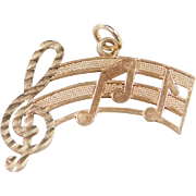 Vintage 14k Gold Music Bar with Notes Charm