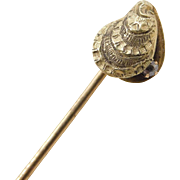 Victorian 14k Gold Nautical Mussel Shell Stick Pin with Diamond Accent