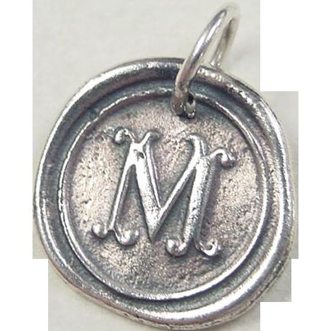 M Letter In Silver Vintage Sterlin...