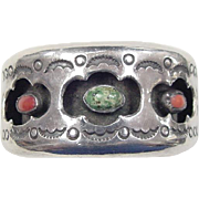 Vintage Sterling Silver Native American Turquoise and Coral Cuff Bracelet