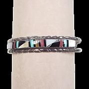 Vintage Sterling Silver Native American Stone Cuff Bracelet
