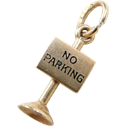 Vintage 14k Gold No Parking Sign Charm