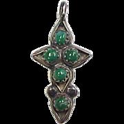 Vintage Sterling Silver Native American Jade Cross Pendant