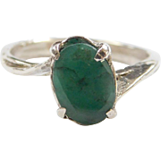 Sterling Silver Natural Emerald Ring