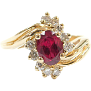 1.36 ctw Natural Ruby and Diamond Ring  14k Gold