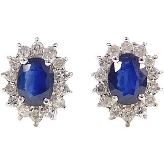 3.80 ctw Natural Sapphire and Diamond Halo 14k White Gold Earrings