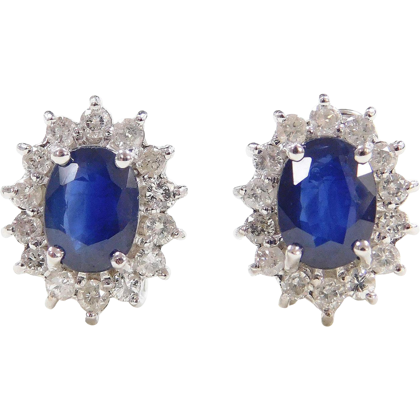 3 80 ctw Natural Sapphire and Diamond Halo 14k White Gold Earrings