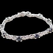 "Sterling Silver Natural Sapphire Bracelet ~ 7 1/4"""