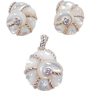 Sterling Silver Judith Ripka Mother of Pearl and Faux Diamond Nautical Shell Pendant and Earrings Set