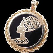 Vintage 14k Gold Onyx Nefertiti Pendant
