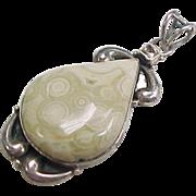 Vintage Sterling Silver Ocean Jasper and Citrine Pendant