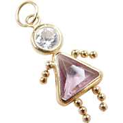 Vintage 14k Gold October Girl Birthstone Charm ~ Faux Pink Tourmaline and Faux Diamond