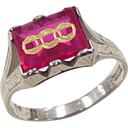 Art Deco 14k White Gold Created Ruby Odd Fellows Ring