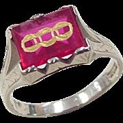 Art Deco 14k White Gold Created Ruby Odd Fellows Ring