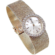 Vintage 18k Gold .56 ctw Diamond OMEGA Ladies Dress Watch 7 1/4""