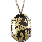 Sterling Silver Onyx Pendant with Gold Overlay Asian Inspired Design
