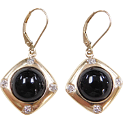 Vintage 14k Gold Onyx and Diamond Earrings