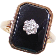 Vintage 14k Gold Onyx and Diamond Flower Ring